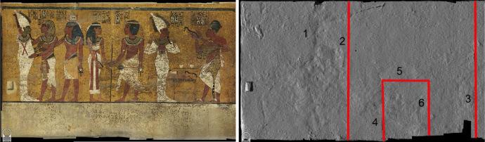 "Camera Funeraria, Parete Nord (Foto dalla pubblicazione di N. Reeves ""The Burial of Nefertiti?"")"