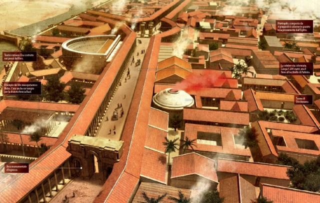 Ricostruzione grafica della città di Palmira con i principali monumenti (Immagine: Focus.it)