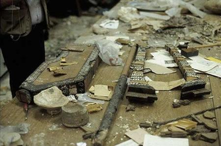 I resti della Lira d'Oro dopo il saccheggio delMuseo Nazionale di Baghdad