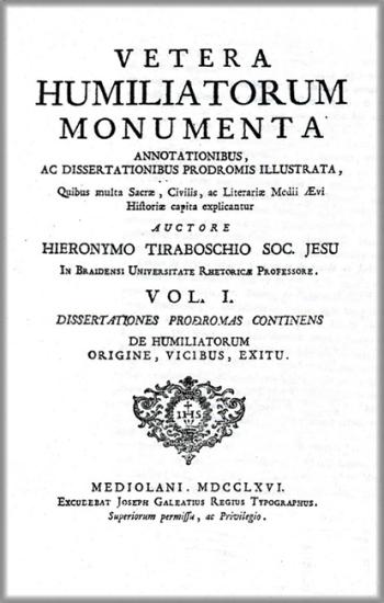 Frontespizio dell'opera del Tiraboschi, principale fonte di notizie sull'Ordine degli Umiliati.
