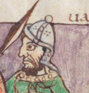 Elmo: dettaglio di elmo con protezione posteriore, Salterio di Stoccarda, folio 5v.