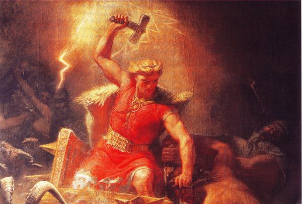 Thor mentre brandisce il martello Mjöllnir da cui si dipartono fulmini (dipinto di Mårten Eskil Winge, 1872)