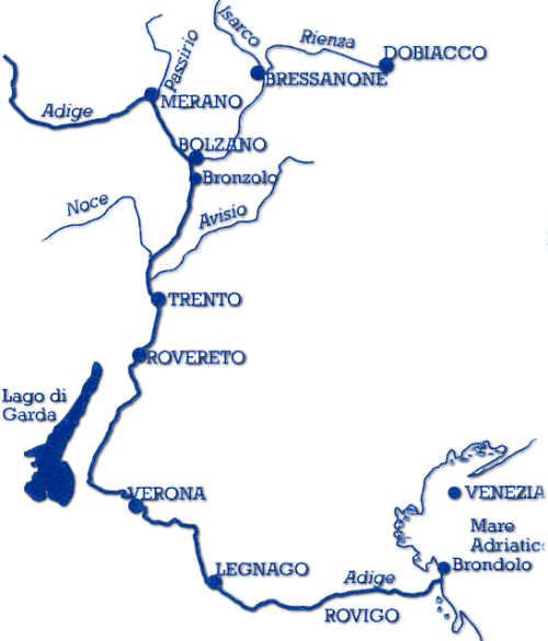 Il corso attuale del fiume Adige