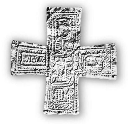 Croce aurea con Agilulfo sul trono e la scritta 'VICTURIA REX'