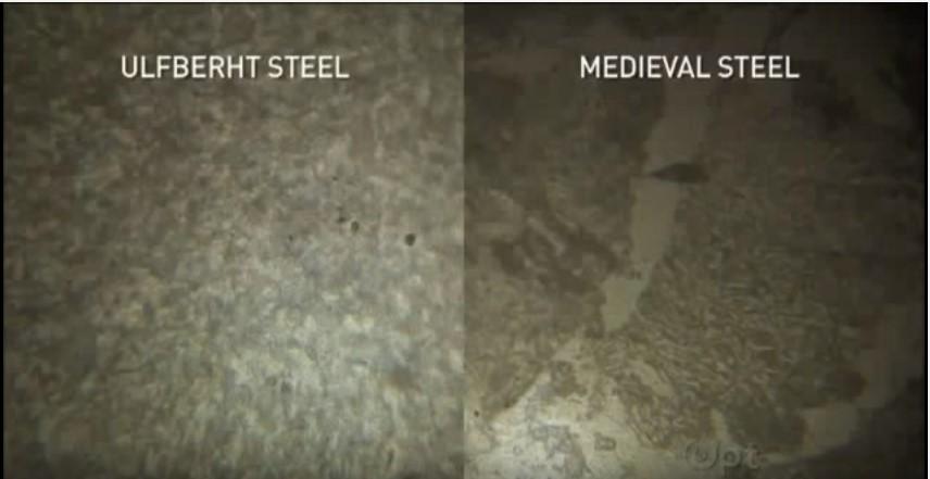 """Confronto al microscopio tra acciaio Ulfberht a sinistra e comune acciaio medievale a destra immagine tratta dal documentario """"Secret of the viking sword"""")"""