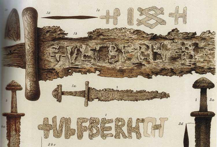 Disegno di Anders Lorange pubblicato nel 1889 su una rivista di Archeologia Norvegese; Lorange fu il primo a descrivere le spade Ulfberht