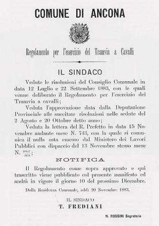 """La pubblicazione del regolamento tranviario a trazione animale del comune di Ancona, 1883. La dicitura riportata è """"tramvia"""""""