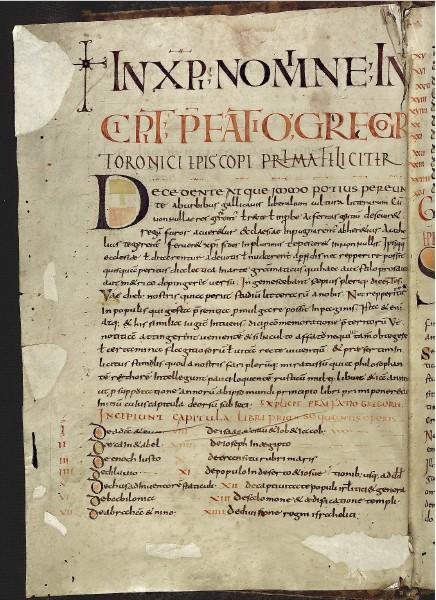 Pagina iniziale del manoscritto della Historia Francorum di Gregorio di Tours (da http://bibliotheca-laureshamensis-digital.de)