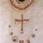 Posizionamento del ricamo raffigurante la croce sulla tunica di Santa Bathilde, morta nel 680, Musée Alfred Bonno, Chelles