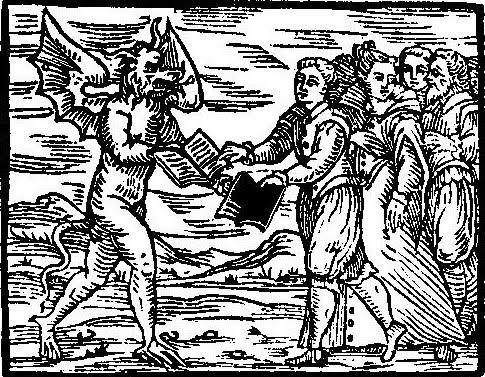 Uno stregone scambia i Vangeli con un testo di Magia Nera dal Compendium Maleficarum di Francesco Maria Guazzo (1608)
