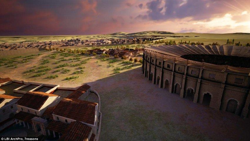 La ricostruzione del quartiere adiacente l'anfiteatro di Carnutum