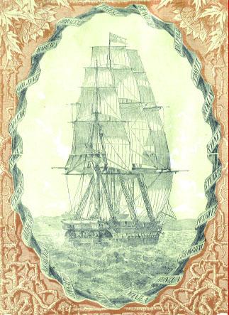 """Immagine della fregata SMS Novara dalla copertina di """"Spedizione della fregata austriaca Novara attorno alla Terra (1861-1876"""" pubblicazione in 21 volumi durata 15 anni del diario di navigazione"""