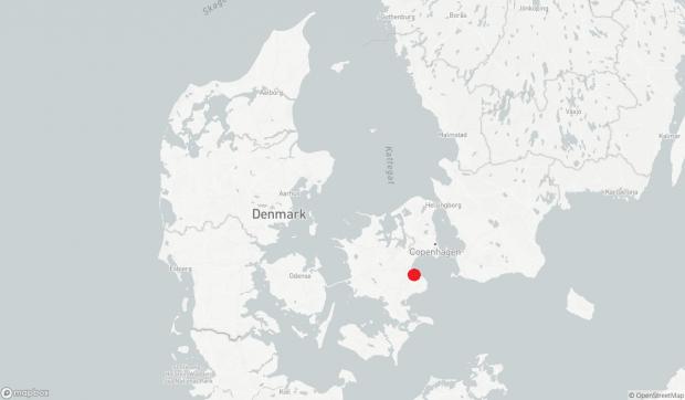 Location di Strøby in Zelanda, Danimarca orientale indicato dal punto rosso. (Mappa: ScienceNordic / MapBox)