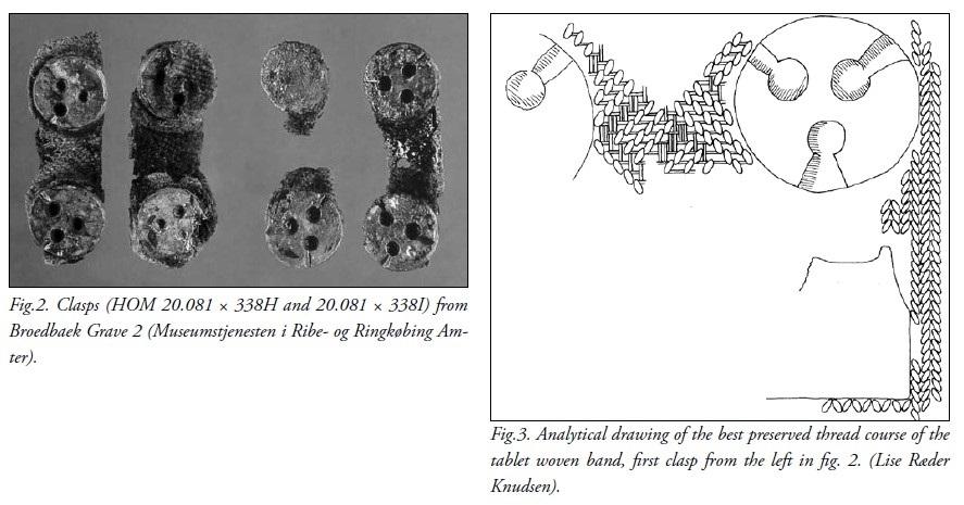 A sinistra foto dei fermagli in bronzo di Broedbaek, a destra resa grafica da Lise Ræder Knudsen and Ulla Mannering