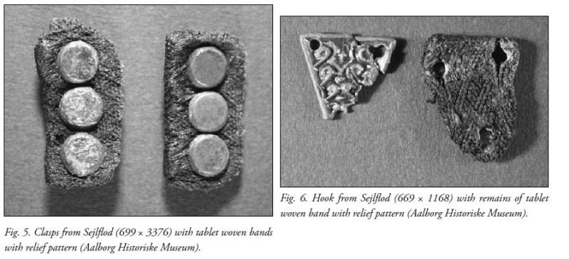 Esempi di intreccio a rilievo da Sejlflod (immagine da Lise Ræder Knudsen and Ulla Mannering)