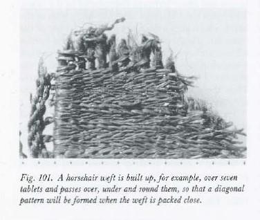 Tecniche di weft-wrapping e soumak con crine di cavallo dalla tomba di Hogom, Norvegia (Foto da Margareta Nockert)