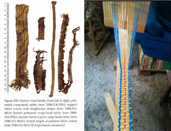 A sinistra immagini dei ritrovamenti di passamanerie a pettine liccio da Walton Roger, 2012; a destra lavorazione di passamaneria a pettine liccio