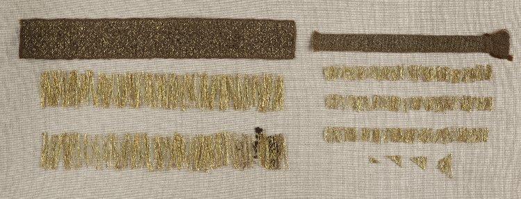 I fili aurei di Taplow e le ricostruzioni eseguite a tavolette da Mrs. Crowfoot esposti al British Museum