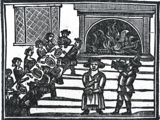 Una xilografia di un'illustrazione di A Book of Roxburghe Ballads mostra festaioli che celebrano il Natale nel XVII secolo.(Bridgeman Art Library)