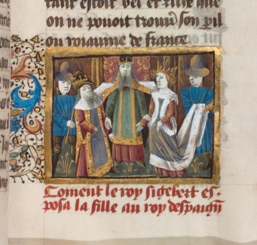 Matrimonio di Sigeberto I e Brunilda, miniatura del XV secolo da Grandes Cronique Francais, BNF, Fr2610, folio 31 r