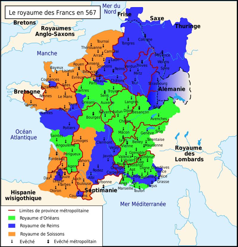 Spartizione del Regno Franco dopo la morte di Cariberto nel 567