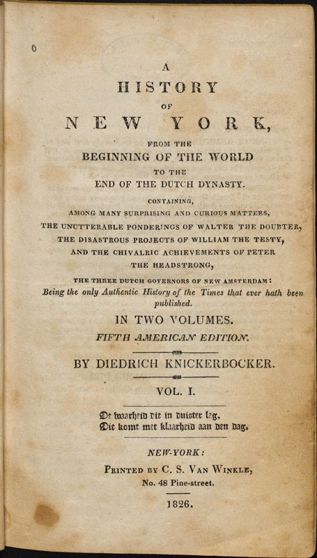 Prima pagina della quinta edizione di A History of New York. (Harvard University Library)