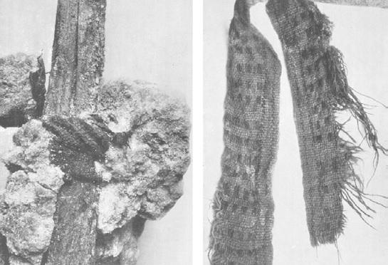 Tessuto decorato utilizzato come legaccio improvvisato per riparare il manico di un attrezzo, Miniere di sale di Dürrnberg, Austria (Foto da Kyrle)