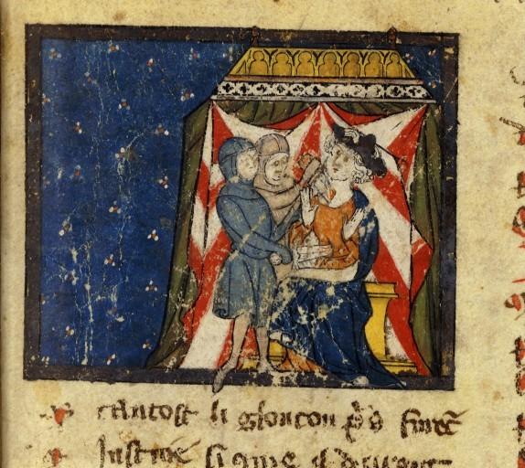 Assassinio di Sigeberto I , XIV secolo (dopo il 1314) Roman de Renart contraffatto, BnF, francais, 1630