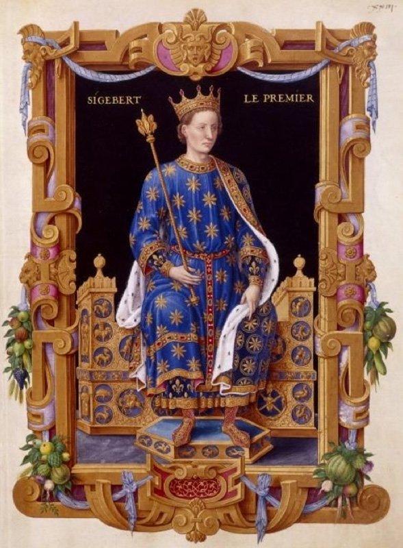 Sigeberto I secondo Jean Du Tillet (XVI secolo), Collezione dei re di Francia . Biblioteca Nazionale di Francia