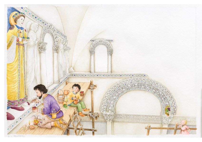 La ricerca conduce Berta all'interno del Tempietto. L'espediente per raccontare come un tempo le famose decorazioni in stucco fossero dipinte a vivaci colori, è quello di illustrare proprio il momento in cui i pittori stanno eseguendo la loro opera.