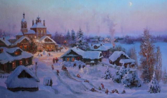 рождественская ночь, рождественские обряды, рождество язычество, картина рождество, картина сочельник