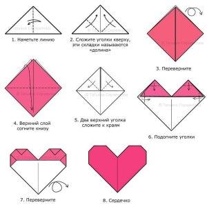 Валентинка-оригами на день святого Валентина, сделать оригами сердце схема, сердце из бумаги своими руками
