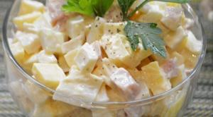 Салат с окороком и кальмаром рецепт, Салат с окороком и кальмаром пошаговый рецепт, Салат с окороком и кальмаром как приготовить