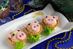 Поросята в тарталетках рецепт, Поросята в тарталетках как приготовить, Поросята в тарталетках пошаговый рецепт, закуска в тарталетках на новый год 2019, закуска в тарталетках в виде свинок, закуска в тарталетках в виде поросят