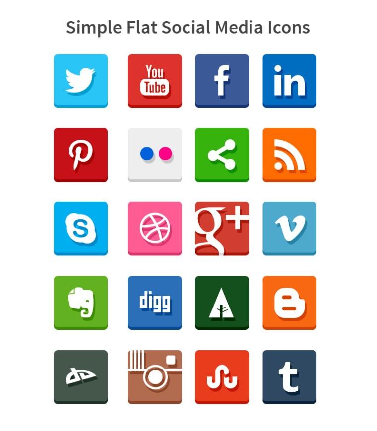 simple flat social icons - Be Social
