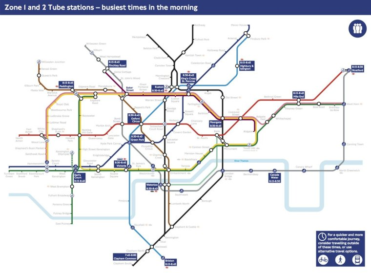 busy tube stations 1024x753 - This London Tube map shows the busiest morning times for passengers using Zone 1 and Zone 2 stations