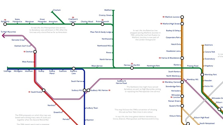 ayles - A Tube Map That Never Happened, Based On Plans From The 1940s