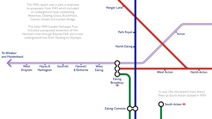 cross 1 - A Tube Map That Never Happened, Based On Plans From The 1940s