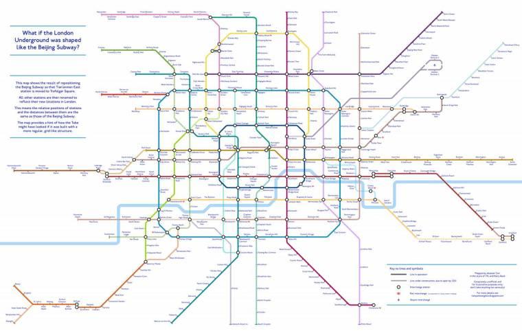 beijing tube 1024x649 - An alternative TfL Tube map: Designer creates 'grid-like' London Underground plan using Beijing Subway as guide