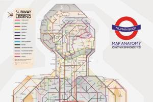 medical human tube map - Surgeon uses London Tube to inspire life-size human body map