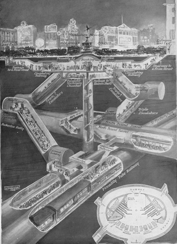 piccadilly circus cutaway 742x1024 - More Amazing Cutaways Of London Underground Stations
