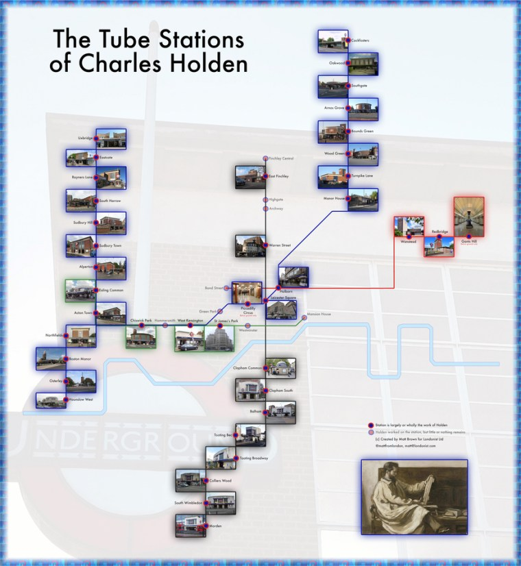 holdentubemedium - Charles Holden's Tube Stations Mapped