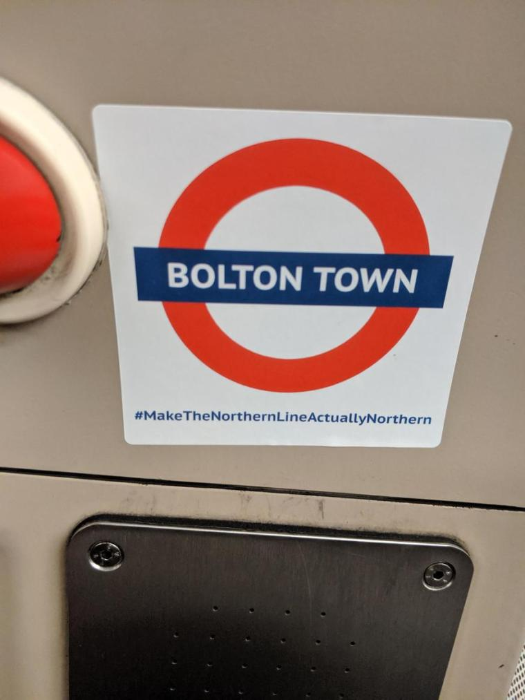 bolton - Mystery 'Make The Northern Line Actually Northern' Stickers Appear On Tube Trains