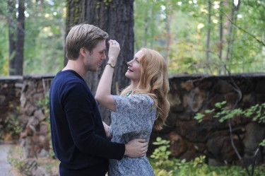 Theo Green (Zachary Booth) and his mother, Celia (Patricia Clarkson), greeting each other in the driveway of the Green family's Lake Tahoe home in LAST WEEKEND.