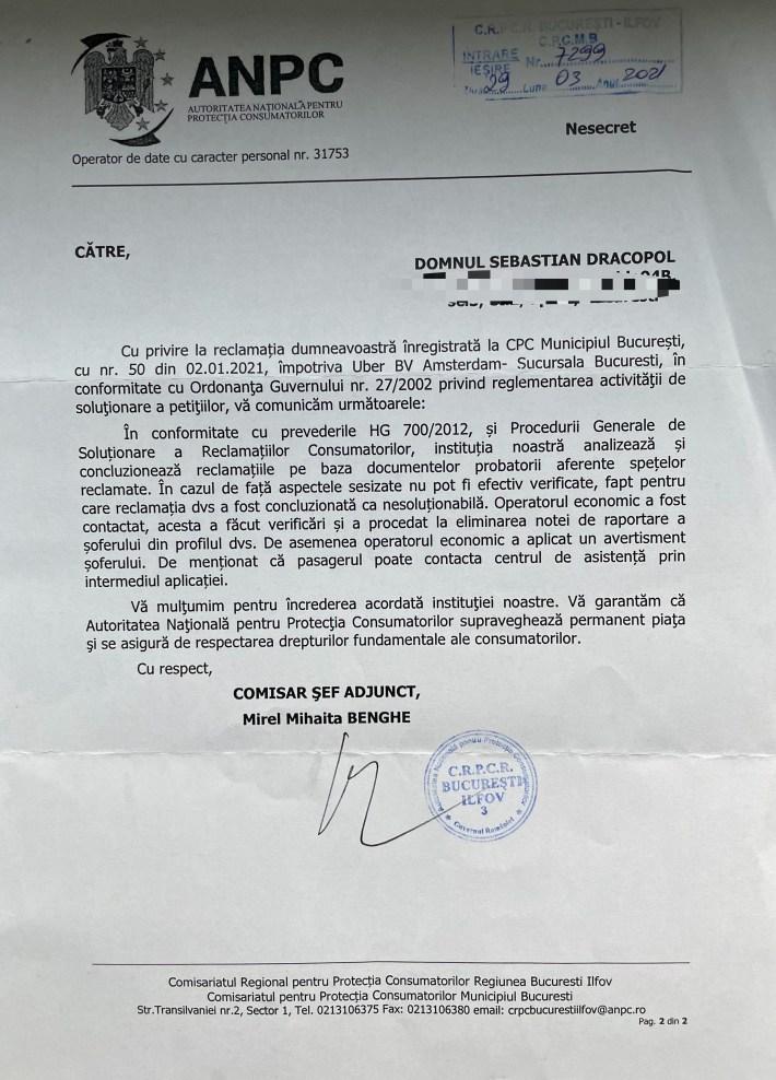 Uber Romania reclamatie