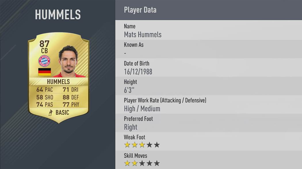 FIFA 17 - notes 50 meilleurs joueurs - Hummels