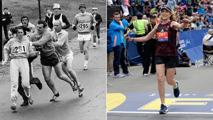 50 ans après, Kathrine Switzer est revenu à Boston pour le marathon