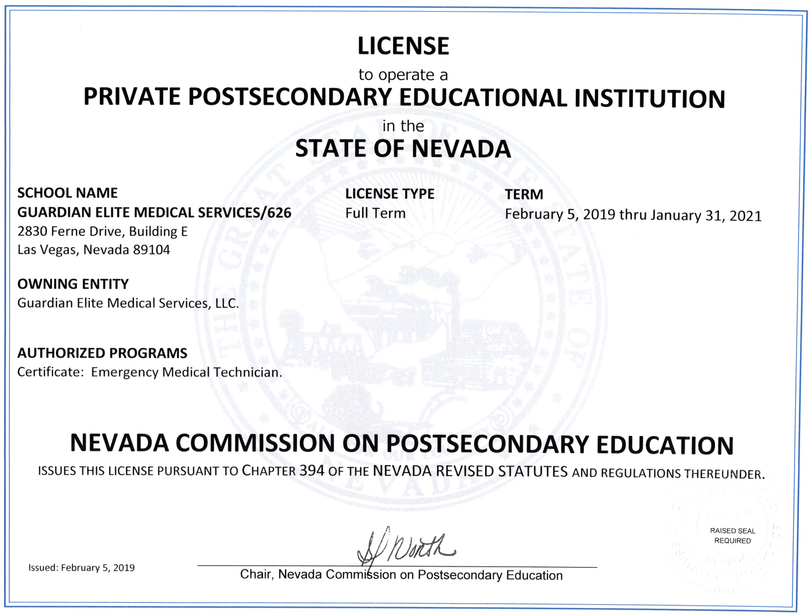 Guardian Elite Medical Services Is Awarded Full-Term License from The Commission on Postsecondary Education