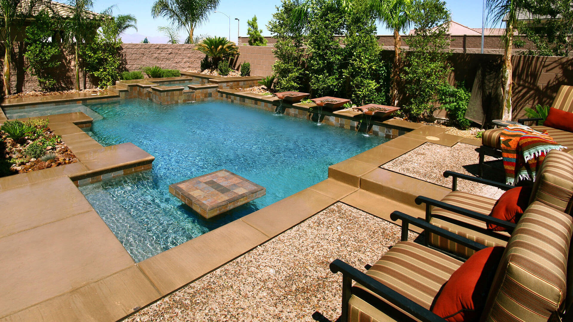 Earth Tone Custom Swimming Pool Design Concept