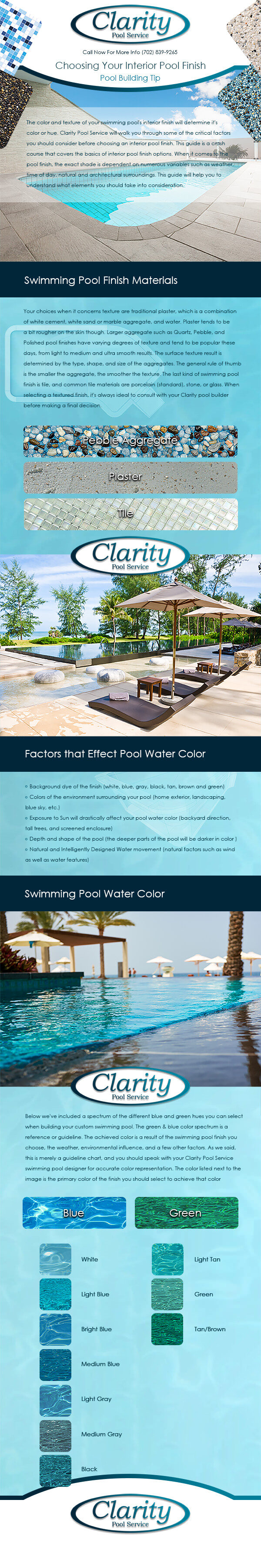 Clarity Pool Service Swimming Pool Finishing Material Infographic